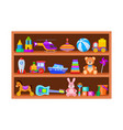 kid toys on shelves children toy on wooden shop vector image vector image
