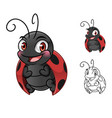 ladybug cartoon character mascot design vector image