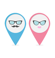 Map pointer with lips mustaches and glasses vector image vector image