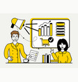 marketing strategy in yellow vector image
