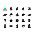 medical ppe black glyph icons set on white space vector image