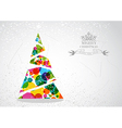 Merry Christmas colorful tree shape vector image