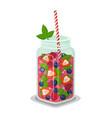 mug of refreshing drink fresh strawberry cocktail vector image