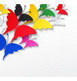 multicolored butterflies on a white background vector image vector image