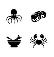ocean seafood fish restaurant simple related icons vector image