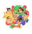office relationships on colored background vector image vector image
