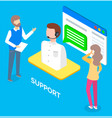 online support concept flat male support and vector image vector image