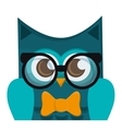 owl cartoon wearing glasses icon vector image