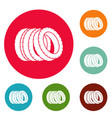 pile of tire icons circle set vector image vector image