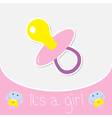 pink pacifier bagirl shower card vector image vector image
