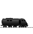 powered locomotive railroad train black transporta vector image