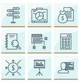 project icons set with cash flow statistics and vector image