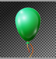 realistic emerald balloon with ribbon isolated vector image vector image