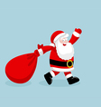 Santa Claus running with the bag of the presents vector image