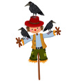 Scarecrow on stick and three crows vector image vector image
