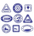 Set of scratched stamps on travel and tourism vector image vector image