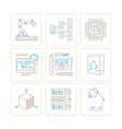 set of technology icons and concepts in mono thin vector image vector image