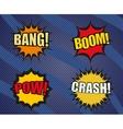 set sound comic bubbles in pop-art style vector image