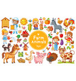 set with farm animals vector image vector image