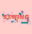 sewing creative atelier and fashion design concept vector image