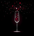 stylized champagne glass with heart confetti vector image