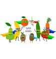 super vegetables fruits vector image vector image