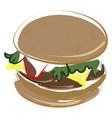 sweet hamburger on white background vector image vector image