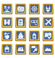 travel summer icons set blue square vector image