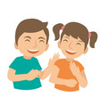 two young kids laugh and happy vector image