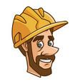 Worker face with helmet cartoon