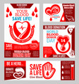 world blood donor day banner with heart and drop vector image vector image