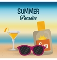 summer paradise beach cocktail sunglasses and sun vector image