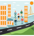 four guys and girl in the city flat design vector image