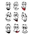 Funny cartoon faces set vector image