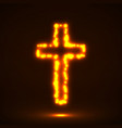 glowing cross christian symbol vector image