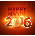 Happy New Year 2016 colorful disco lights vector image