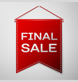 red pennant with inscription final sale over a vector image