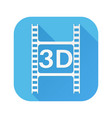 3d film cut white sign on blue square icon vector image vector image