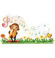 A monkey playing with the cymbals vector image vector image