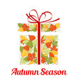 autumn leaf in shape of gift box greeting card vector image