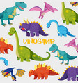 background design with many cute dinosaurs vector image