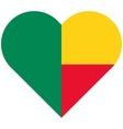 Benin flat heart flag vector image vector image