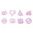 bus travel dislike hand and yummy smile icons set vector image vector image