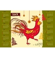 Calendar 2017 Chinese New Year of the Rooster vector image