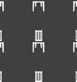 chair icon sign Seamless pattern on a gray vector image