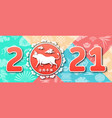 chinese new year 2021 with ox zodiac symbol vector image vector image