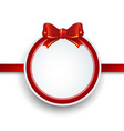 christmas gift frame with red ribbon and bow vector image vector image