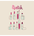 collection of lipsticks and lip glosses vector image