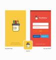 company pencil box splash screen and login page vector image vector image