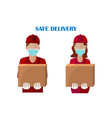 courier with box isolated on white background vector image vector image